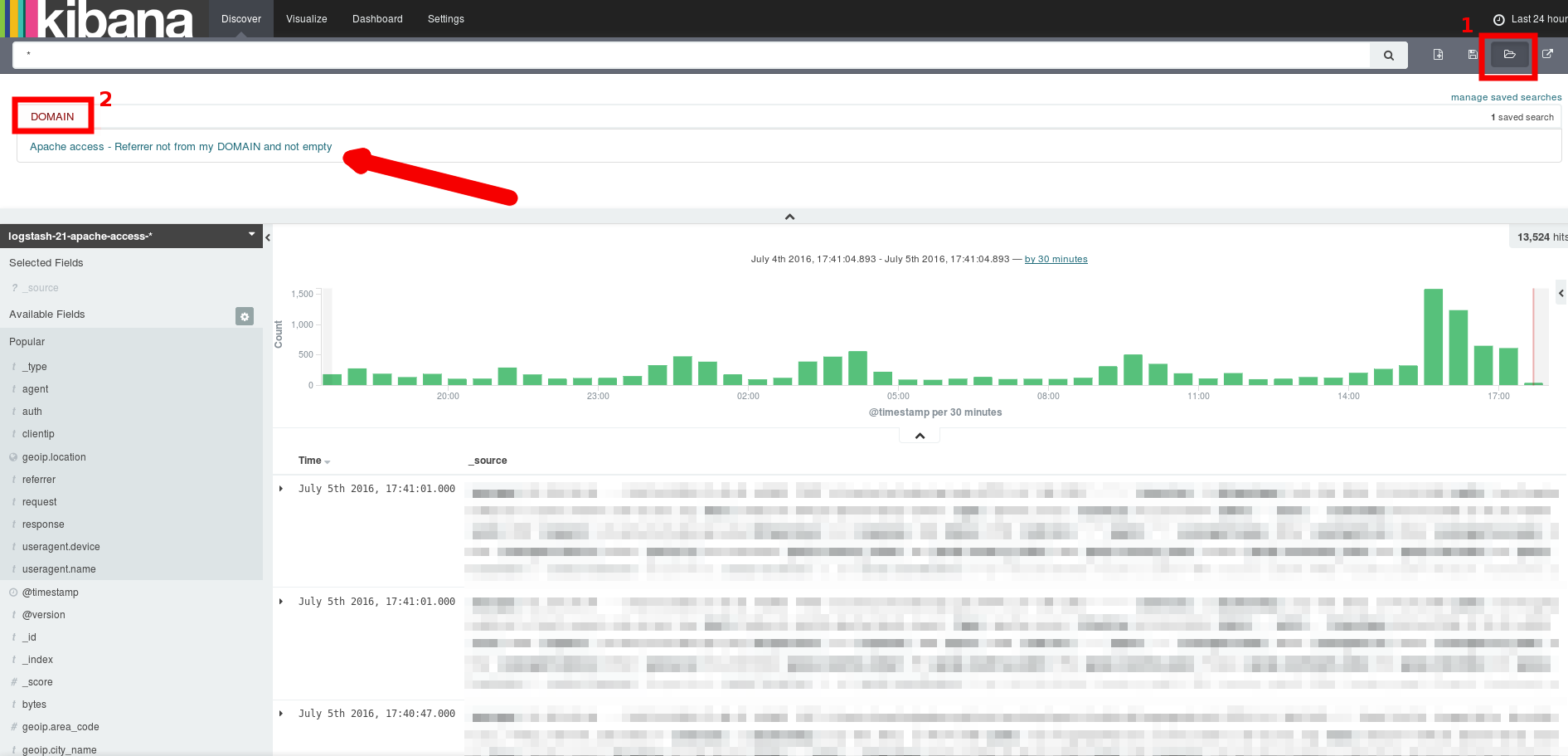 Kibana load search