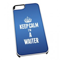 Coque pour iPhone 4/4S Blanc 2712 Bleu Inscription Keep Calm I'm a Serveur