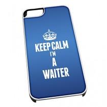 Coque pour iPhone 4/4S Blanc 2712Bleu Inscription Keep Calm I'm a Serveur