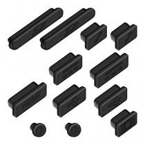 """kwmobile 12x bouchons de protection anti-poussière pour Apple MacBook Pro 13"""" 15"""" Retina / Air 11"""" 13"""" (à partir de mi 2011) en noir"""