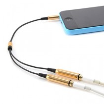 CABLE double Jack 3.5mm AUDIO stereo Splitter adaptateur CASQUE ECOUTEUR pour iPod iPhone iPad MP3 jaune
