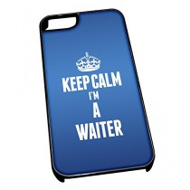 Coque pour iPhone 5/5S 2712Bleu Inscription Keep Calm I'm a Serveur