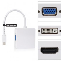 VicTsing  3 en 1 Mini DisplayPort Thunderbolt vers HDMI/ DVI/ VGA Display Port Adaptateur Câble pour Mac Book Air, Mac Book Pro, iMac et Mac mini Microsoft Surface Pro 1/Pro 2/Pro 3, Thinkpad X1/Carbon/Touch/Helix