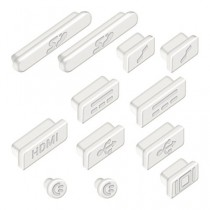 """kwmobile 12x bouchons de protection anti-poussière pour Apple MacBook Pro 13"""" 15"""" Retina / Air 11"""" 13"""" (à partir de mi 2011) en blanc"""