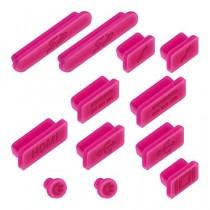 """kwmobile 12x bouchons de protection anti-poussière pour Apple MacBook Pro 13"""" 15"""" Retina / Air 11"""" 13"""" (à partir de mi 2011) en rose foncé"""