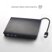 [Graveur/Lecteur USB3.0 Noir] Patuoxun Aluminium Lecteur CD/Graveur DVD-RW externe USB 3.0 Disque dur Disque dur externe ODD & Appareil pour Apple MacBook, MacBook Pro, MacBook Air ou autres/bureau pour ordinateur portable avec câble USB intégré - Noir