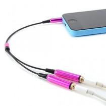 CABLE double Jack 3.5mm AUDIO stereo Splitter adaptateur CASQUE ECOUTEUR pour iPod iPhone iPad MP3 rose