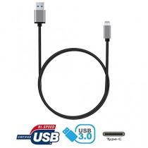 tinxi® High Speed USB 3.1 Type C Male to USB 3.0 Type A Male Data Sync & Câble de charge pour Apple New Macbook 12 pouces, Nokia N1, Tablette, Téléphone mobile et autres dispositifs supportés par Type C, Connecteur en métal nickelé, 1 mètre