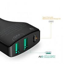 AUKEYQuickCharge3.0USBCChargeurdeVoiture3Ports49.5WpourNexus6P,Nexus5X,LGG5etautresappareilscompatiblesavecTypeC;uncâbleUSBCversUSBCinclus