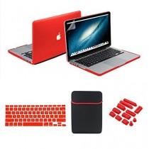 se7enline coloré en caoutchouc soft touch givré Coque rigide pour MacBook, avec sac souple manches et protection clavier en silicone et film protecteur d'écran LCD transparent et prise de la poussière macbook pro 13''(Model A1278) rouge - rouge