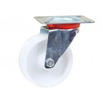 Roulette blanche en polypropylène roue Jantes à roulement à billes pour diminuer l'effort au démarrage Moyeu lisse, Armature en tôle acier galvanisée. Axe démontable Légèreté, résistance aux chocs et à l'abrasion Economique, non, choisir variante:TR-11c 1
