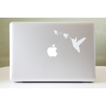 Lini Stickers en forme de colibri et campanule pour MacBook Air/MacBook Pro Blanc