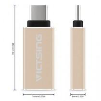 VicTsing Adapteur Convertisseur Micro USB 3.1 Type C Mâle vers Standard Type A USB 3.0 Femelle avec OTG pour Nouveau Apple Macbook 12 Pouces,Google Chromebook Pixel,ZUK Z1,Mi 4C,Nokia N1 et d'autres appareils avec Port Type C - Or