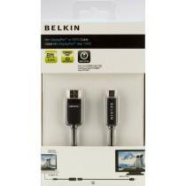 Belkin F2CD026ebAPL Adaptateur Mini DisplayPort vers HDMI + cable HDMI pour connecter un MacBook vers une TV, longueur 2,4 Noir