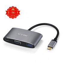 VTIN Convertisseur Adaptateur USB 3.1 Type C vers VGA + USB 3.0+ Type C pour MacBook 12 pouces,Google New Chromebook Pixel etc(Pas Compatible avec Nouveau Macbook 2016)