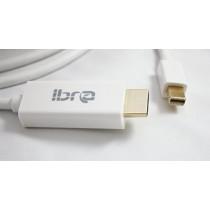 IBRA - 2m Full HD Câble Mini Displayport (miniDP) vers Displayport (DP) Full HD 1080p   avec audio  certifié   Contacts plaqués or 24K   PC Ordinateur & Apple MAC   Blanc