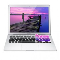 kwmobile protection de clavier QWERTY (US) robuste, fine en silicone pour Apple MacBook Air 13''/ Pro Retina 13''/ 15'' en rose foncé violet - protection effective contre saleté et usure