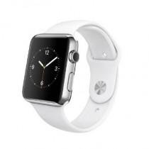 Apple Watch Montre connectée avec boîtier en acier inoxydable de 42 mm et bracelet sport blanc