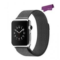 SalesLa Boucle Bracelet en Acier Inoxydable Magnétique Band Meilleur pour Apple Suivre Milanese iwatch 38mm / 42mm ( for iWatch 42mm, black)