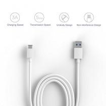 JoyNano USB 3.1 de type C Homme à USB 3.0 Type A mâle Sync & Charge Cable Data Conception réversible pour Macbook Chromebook Pixel et autre USB-C Périphériques compatibles 3.3ft / 1m (C-A Blanc)