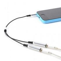 CABLE double Jack 3.5mm AUDIO stereo Splitter adaptateur CASQUE ECOUTEUR pour iPod iPhone iPad MP3 argent