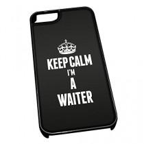 Coque pour iPhone 5/5S 2712Noir Inscription Keep Calm I'm a Serveur