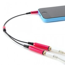 CABLE double Jack 3.5mm AUDIO stereo Splitter adaptateur CASQUE ECOUTEUR pour iPod iPhone iPad MP3 rouge